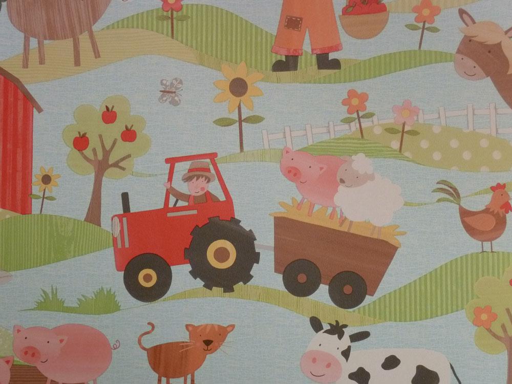 tiny tots kinderzimmer tapete g45130 bauernhof farm tiere euro pro m ebay. Black Bedroom Furniture Sets. Home Design Ideas