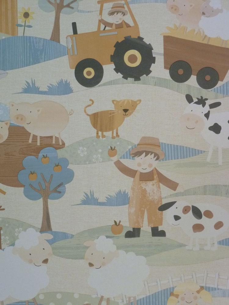 tiny tots kinderzimmer tapete g45132 bauernhof farm tiere beige euro m ebay. Black Bedroom Furniture Sets. Home Design Ideas