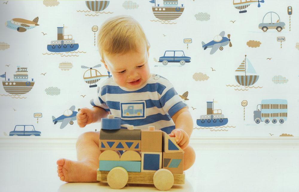 Tiny Tots Kinderzimmer-Tapete G45162 Autos Schiffe Flugzeug (3.58 ...