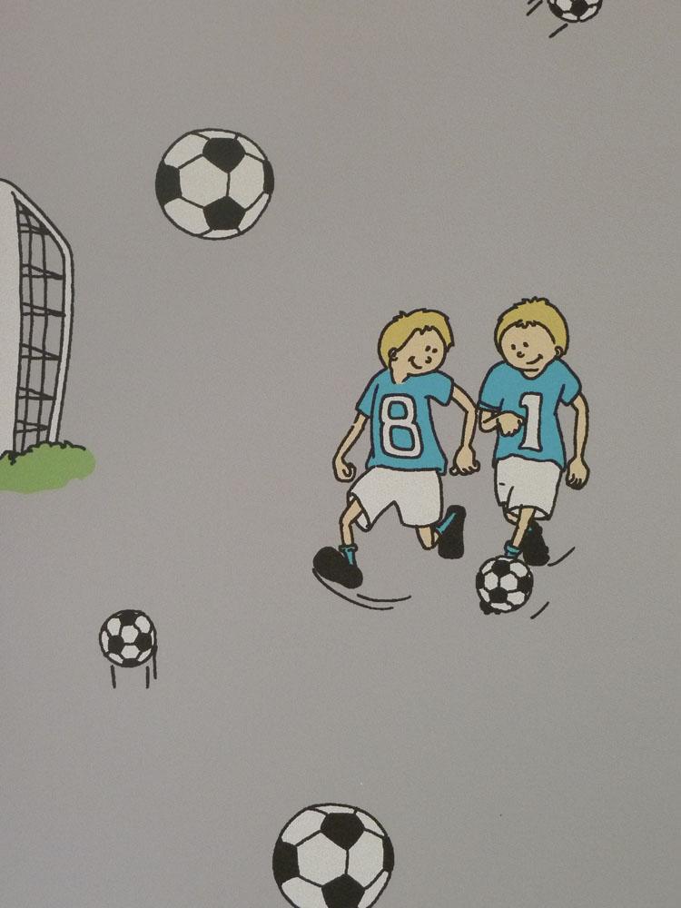Kinderzimmer Tapeten Fussball : Poco Loco Kids Vlies-Tapete 159-01 Fu?ball Kinderzimmer grau (4.28