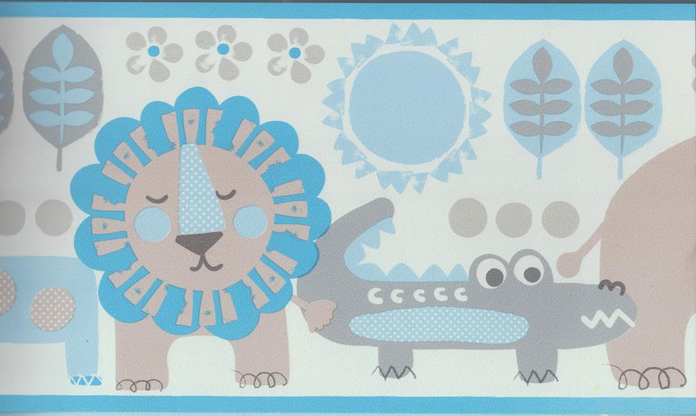 Carousel Tapeten-Bordüre Kinderzimmer Borte DLB050075 Tiere blau ...