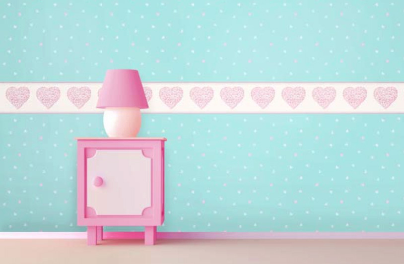carousel tapeten bord re kinderzimmer borte dlb050079 herzen rosa euro m ebay. Black Bedroom Furniture Sets. Home Design Ideas