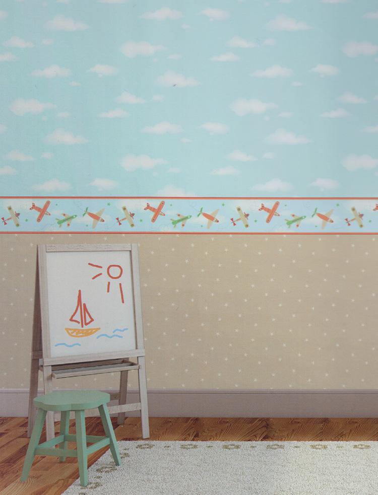 carousel tapeten bord re kinderzimmer borte dlb50086 flugzeuge euro pro m ebay. Black Bedroom Furniture Sets. Home Design Ideas