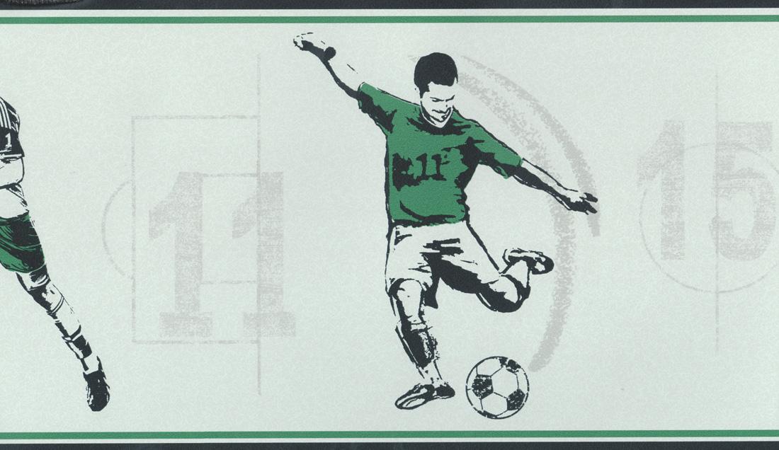 Carousel Tapeten-Bordüre Kinderzimmer Borte DLB50091 Fußball grün ...