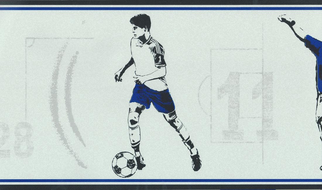 Carousel Tapeten-Bordüre Kinderzimmer Borte DLB50092 Fußball blau ...