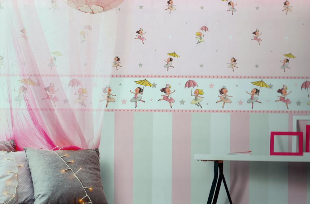 bimbaloo 2 kinderzimmer tapete 330075 ballerina rasch textil euro m ebay. Black Bedroom Furniture Sets. Home Design Ideas