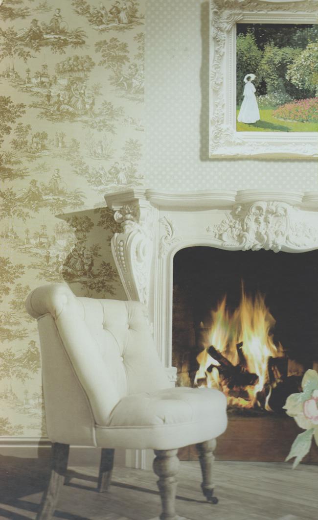 blooming garden 8 vinyl tapete auf vlies 004135 toile de jouy euro m ebay. Black Bedroom Furniture Sets. Home Design Ideas