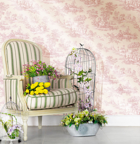 blooming garden 8 vinyl tapete auf vlies 004132 toile de jouy euro m ebay. Black Bedroom Furniture Sets. Home Design Ideas