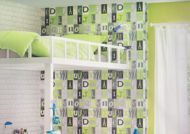 kids 39 club 2014 kinderzimmer tapete 231106 buchstaben gr n euro pro m ebay. Black Bedroom Furniture Sets. Home Design Ideas