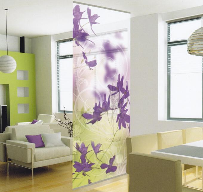 Deco home raumteiler purple blossoms 100 x 240 cm ebay for Dekorationsartikel wohnung