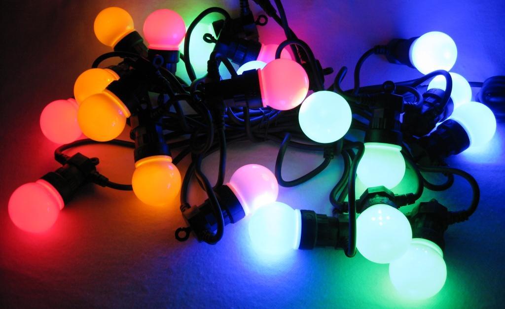 13m Party-Lichterkette mit 20 LED-Lampen in Glühbirnenform bunt ...
