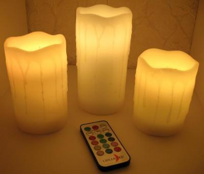 weihnachten 3er set led kerzen bunt mit fernbedienung rgb timer tischleuchte ebay. Black Bedroom Furniture Sets. Home Design Ideas
