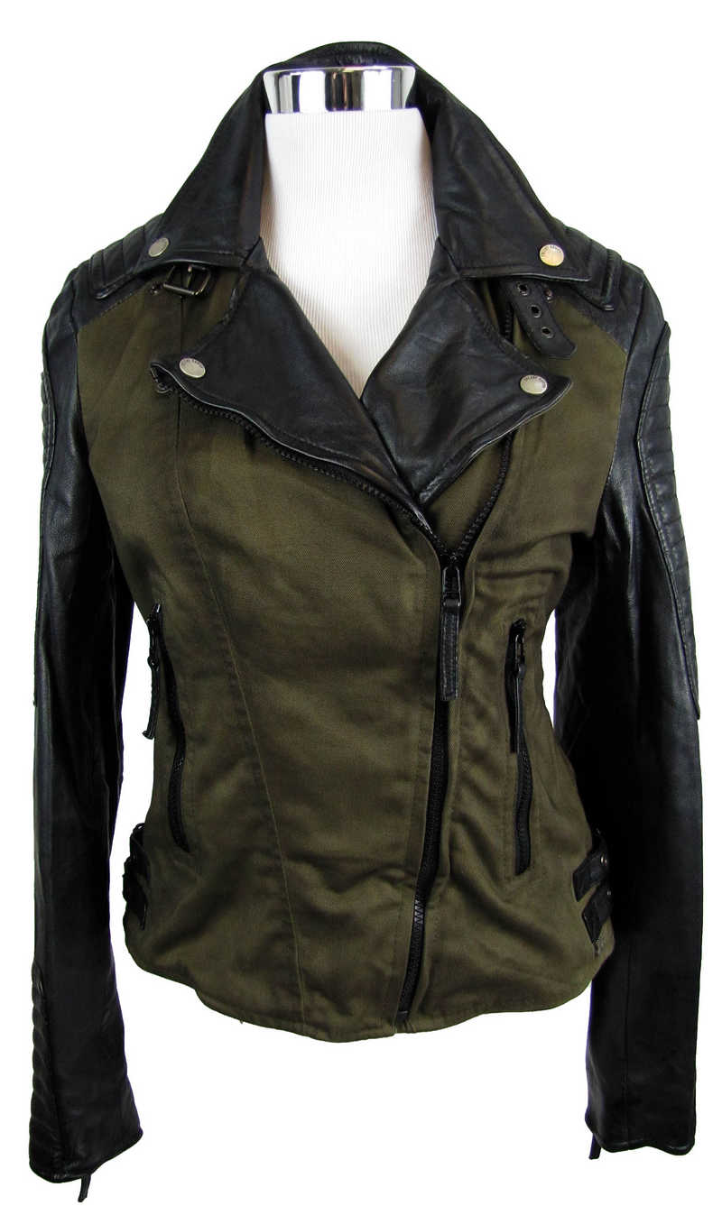 freaky nation damen lederjacke 6748 echtleder lammnappa stoff black khaki neu ebay. Black Bedroom Furniture Sets. Home Design Ideas