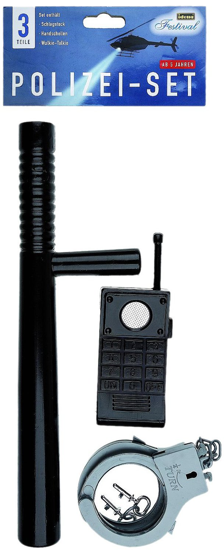 idena 8040006 polizei set 3 teilig schlagstock handschellen und walkie tal. Black Bedroom Furniture Sets. Home Design Ideas