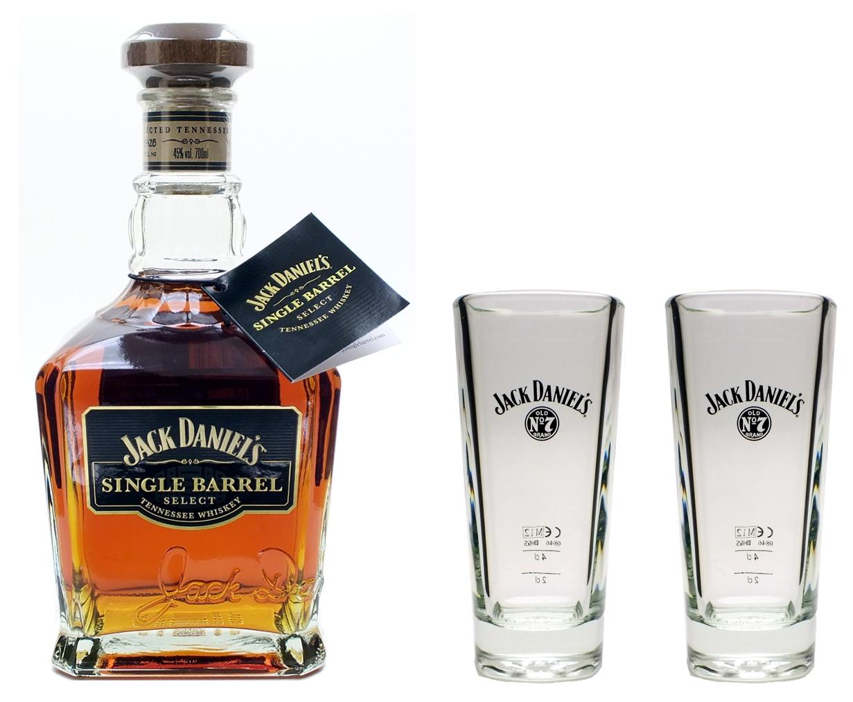 jack daniels single barrel whiskey 45 0 7l mit 2 longdrink gl ser set glas ebay. Black Bedroom Furniture Sets. Home Design Ideas