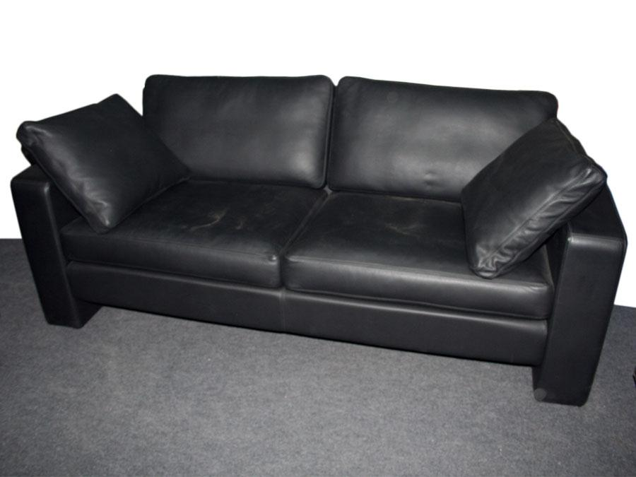 cor conseta couch 2 sitzer echtleder sofa schwarz modell 40280 neu ebay. Black Bedroom Furniture Sets. Home Design Ideas