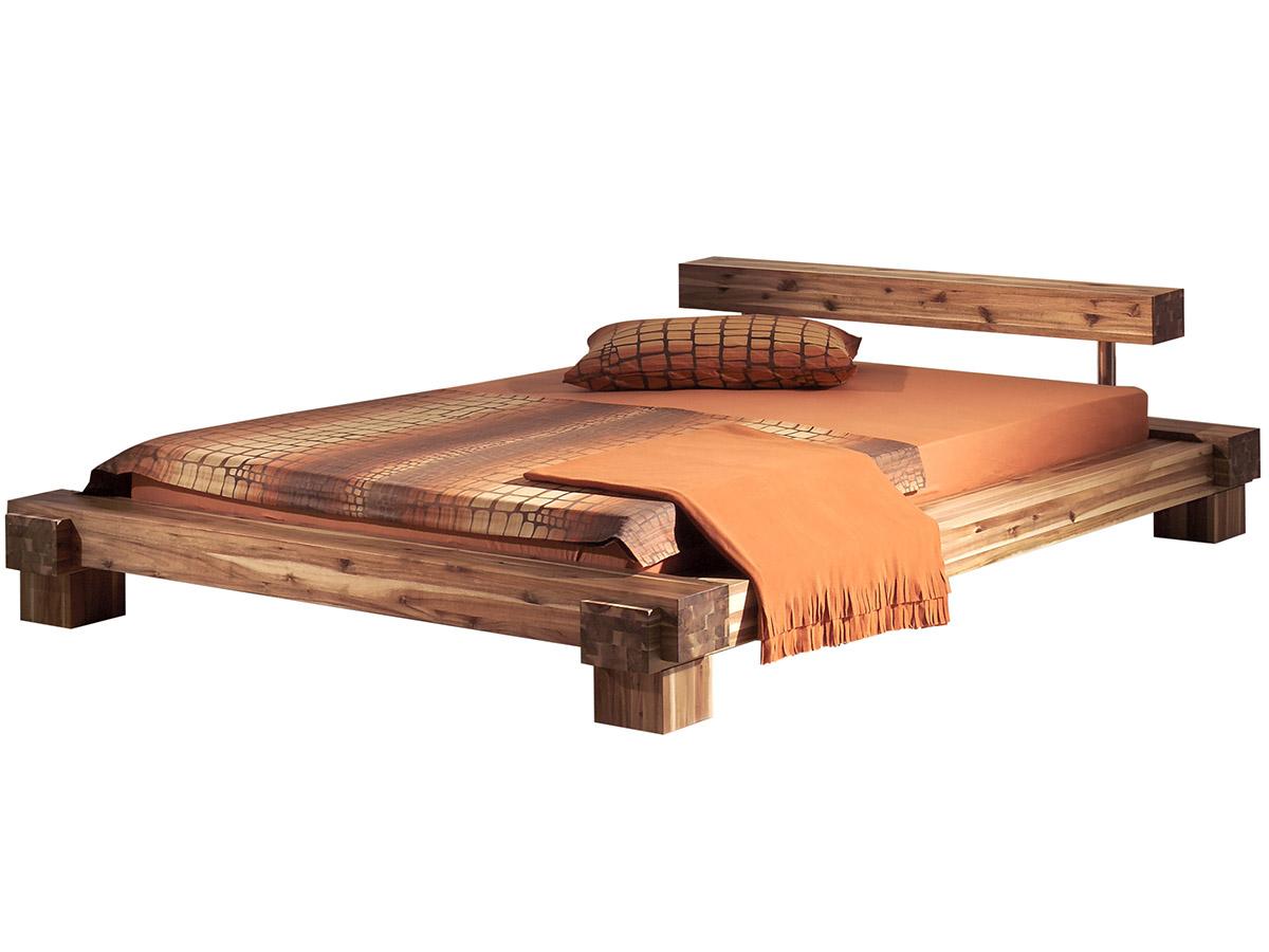 massivholzbett doppelbett bett holzbett balkenbett akazie 140x200cm sabatino ebay. Black Bedroom Furniture Sets. Home Design Ideas