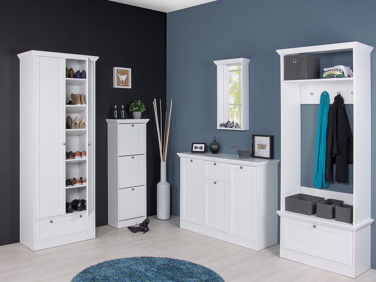 garderobe mit sitzbank wandgarderobe flurgarderobe bank wei landsted i ebay. Black Bedroom Furniture Sets. Home Design Ideas