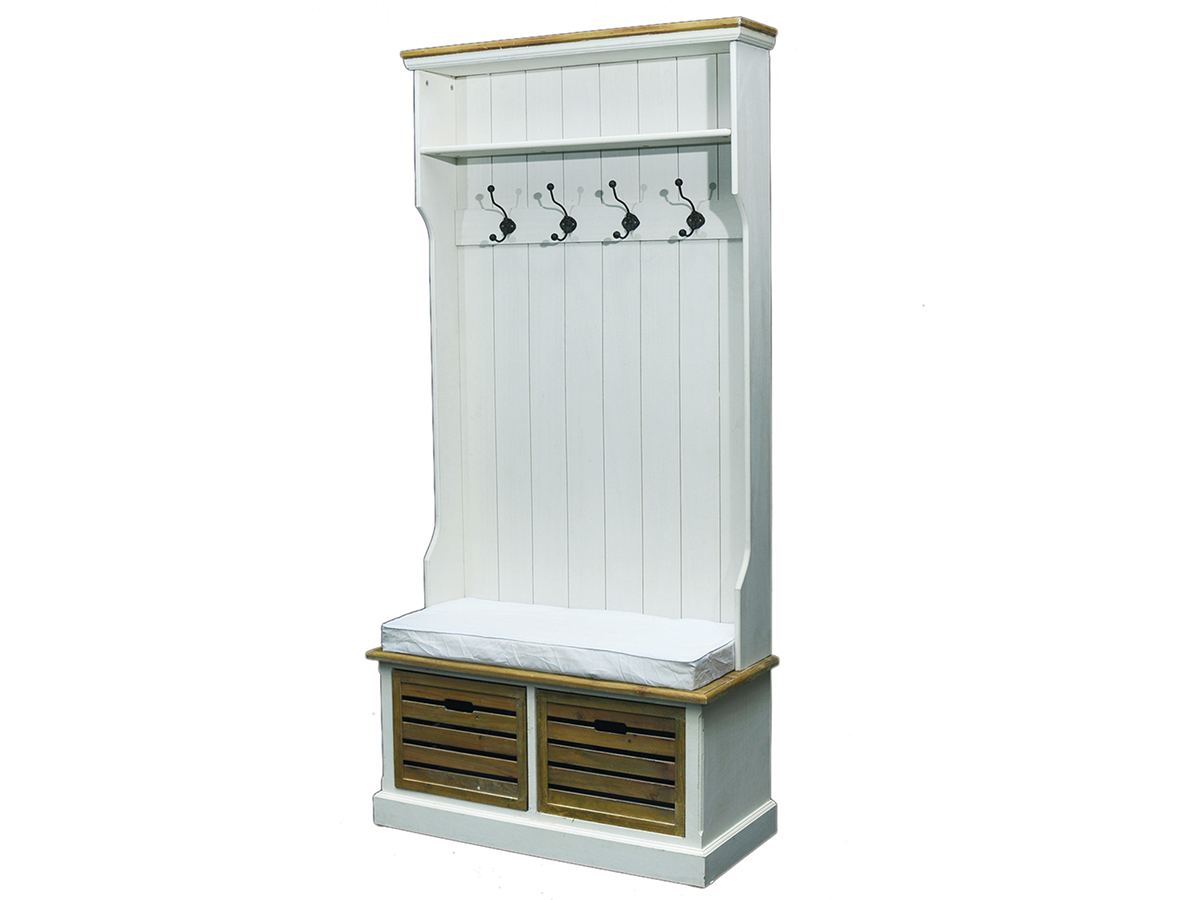 garderobe mit sitzbank wandgarderobe dielenschrank antik wei burgund ebay. Black Bedroom Furniture Sets. Home Design Ideas