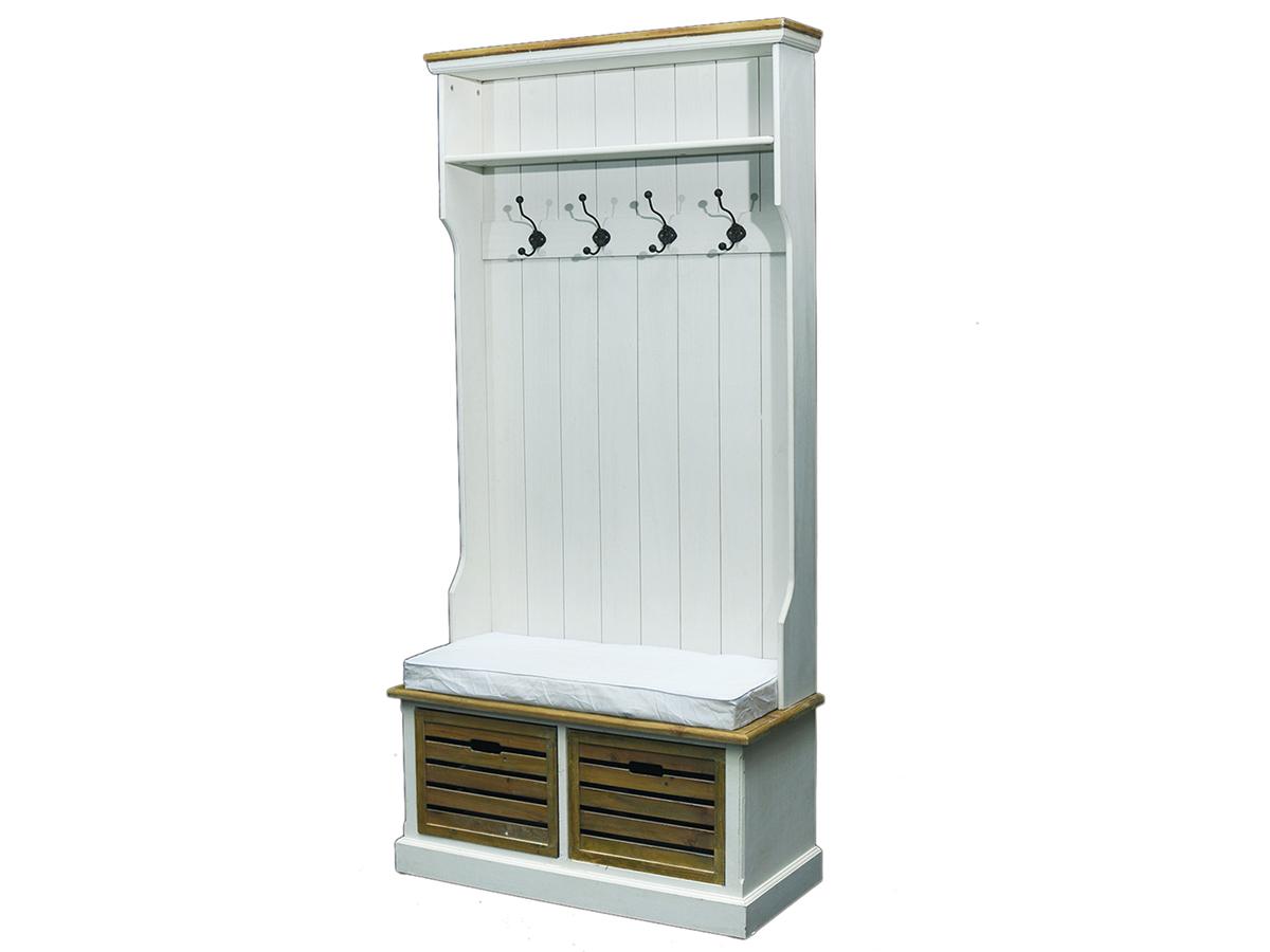 garderobe mit sitzbank wandgarderobe dielenschrank antik wei burgund. Black Bedroom Furniture Sets. Home Design Ideas