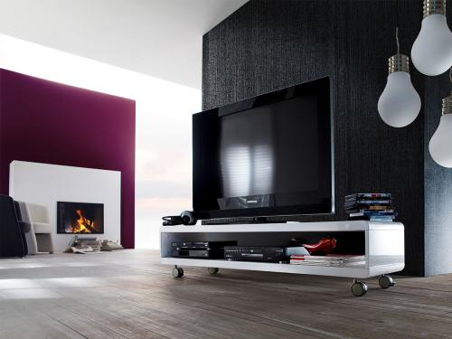tv lowboard sideboard kommode tv tisch rack media rollen wei hochglanz guido ebay. Black Bedroom Furniture Sets. Home Design Ideas