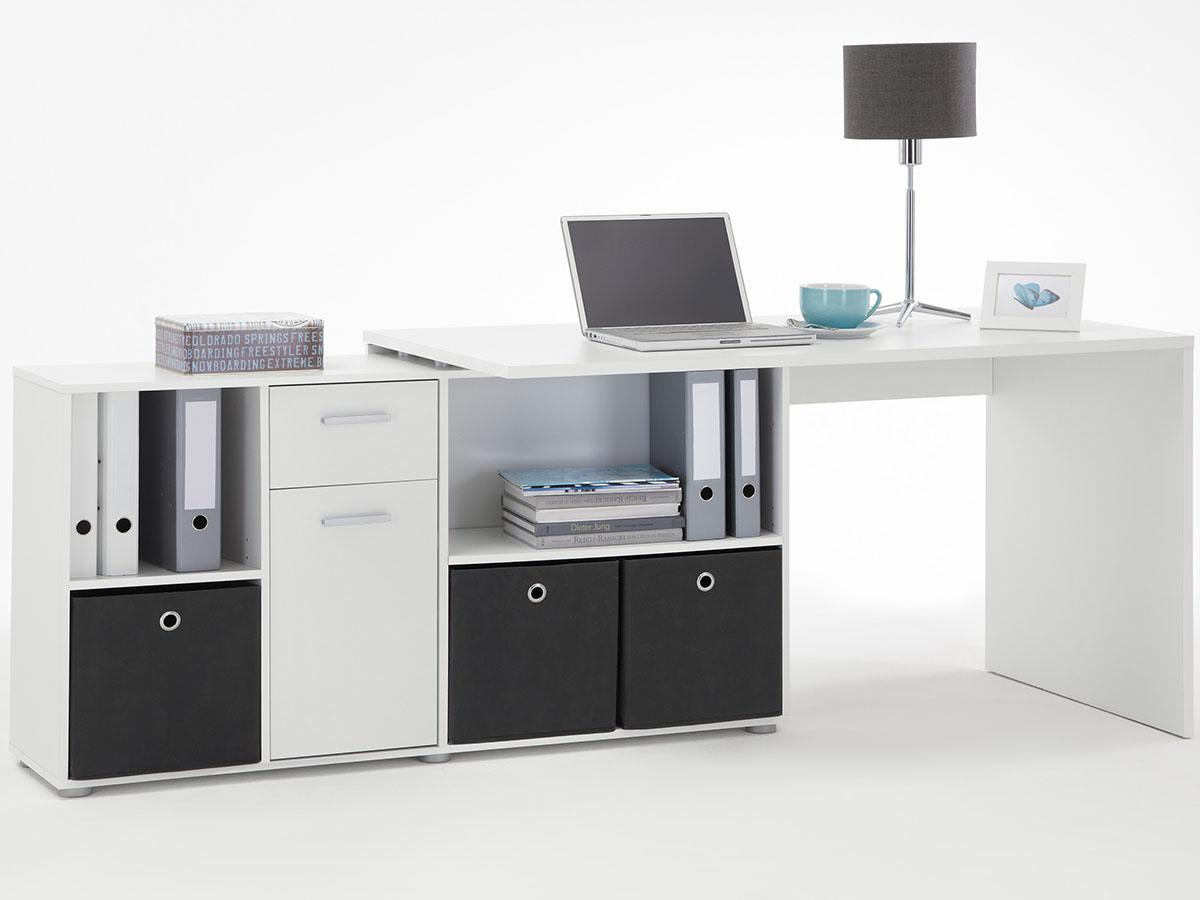 Eckschreibtisch schwarz weiß  Schreibtisch Weiß Mit Tastaturauszug ~ Maja 9475 computertisch in ...