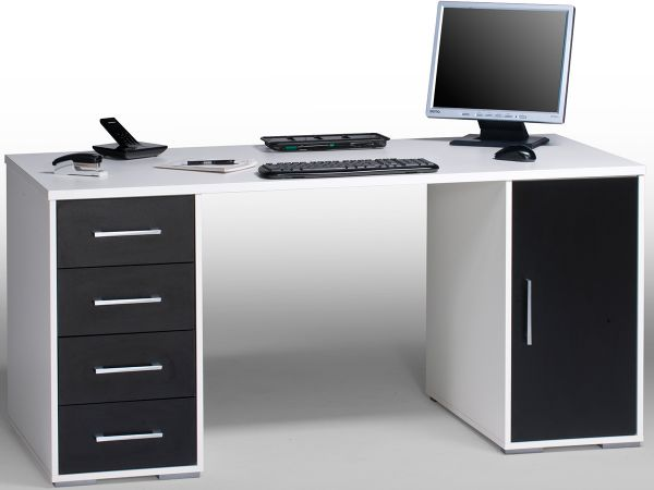 schreibtisch computertisch b rotisch arbeitstisch wei schwarz 150x70 5 timo2 ebay. Black Bedroom Furniture Sets. Home Design Ideas