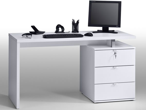 schreibtisch computertisch tisch workstation pc tisch wei hochglanz karlo ebay. Black Bedroom Furniture Sets. Home Design Ideas