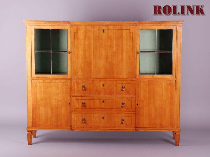 50er 60er wohnwand wohnzimmer schrank anbauwand vitrine mit schreibablage s ebay. Black Bedroom Furniture Sets. Home Design Ideas