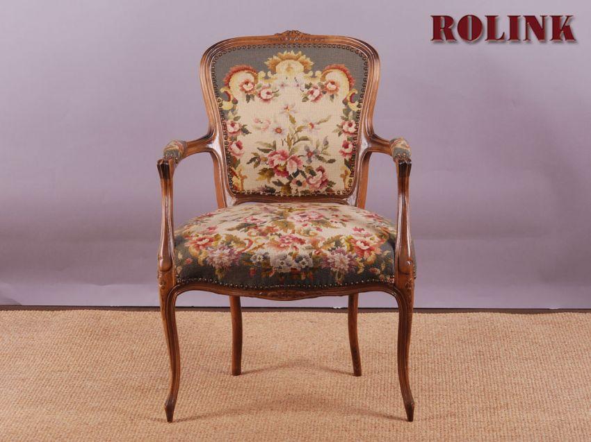 Gobelin Chippendale Barock Rokoko Stil Sessel Stuhl Blumen