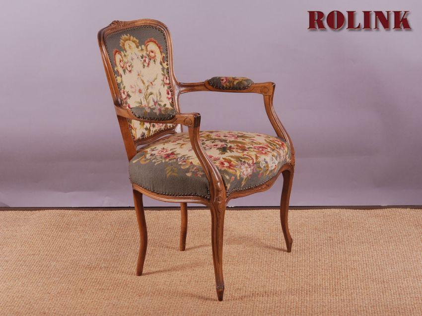 gobelin chippendale barock rokoko stil sessel stuhl blumen floral armlehnstuhl ebay. Black Bedroom Furniture Sets. Home Design Ideas