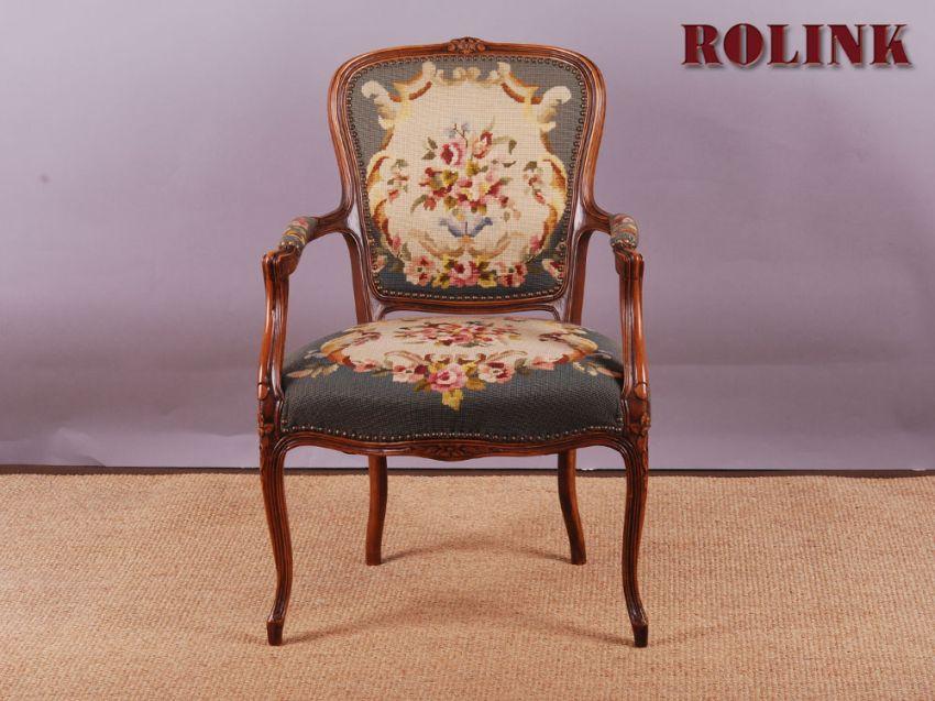 gobelin barock chippendale rokoko stil sessel stuhl blumen floral armlehnstuhl ebay. Black Bedroom Furniture Sets. Home Design Ideas
