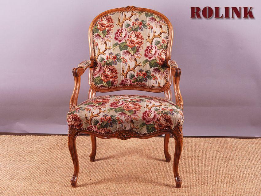 gobelin armlehnstuhl rokoko barock chippendale stil sessel stuhl blumen florall ebay. Black Bedroom Furniture Sets. Home Design Ideas