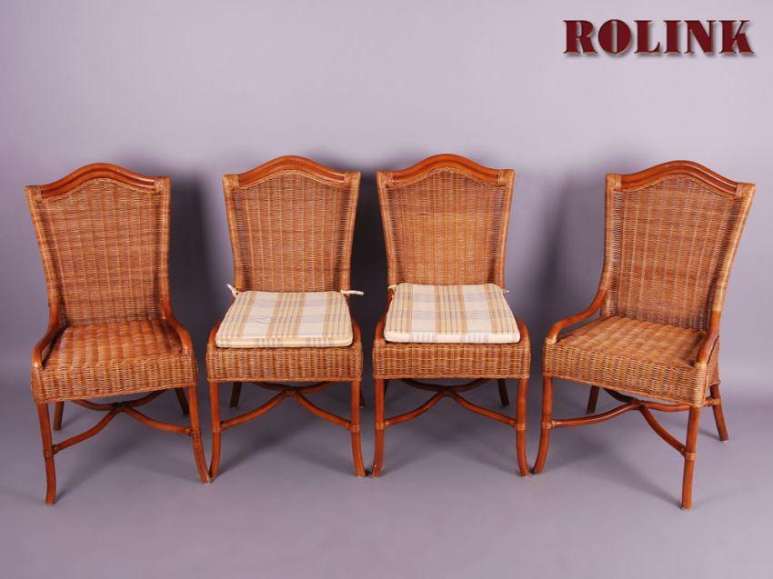 set 4 rattan st hle stuhl esszimmer k che wohnzimmer korbstuhl mit sitzkissen ebay. Black Bedroom Furniture Sets. Home Design Ideas