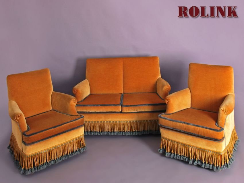 Couch retro stil 2 sitzer sofa bezug mohair in gelb mit for Sofa 70er stil