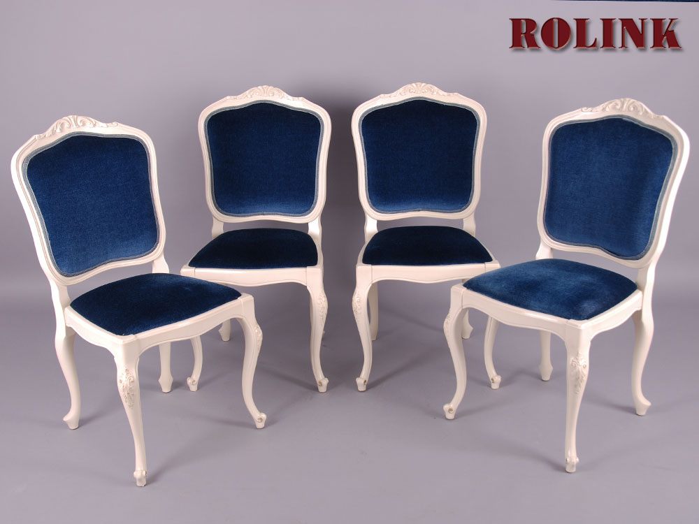 4 st hle warrings chippendale schleiflack antik weiss shabby chic barock rokoko ebay. Black Bedroom Furniture Sets. Home Design Ideas