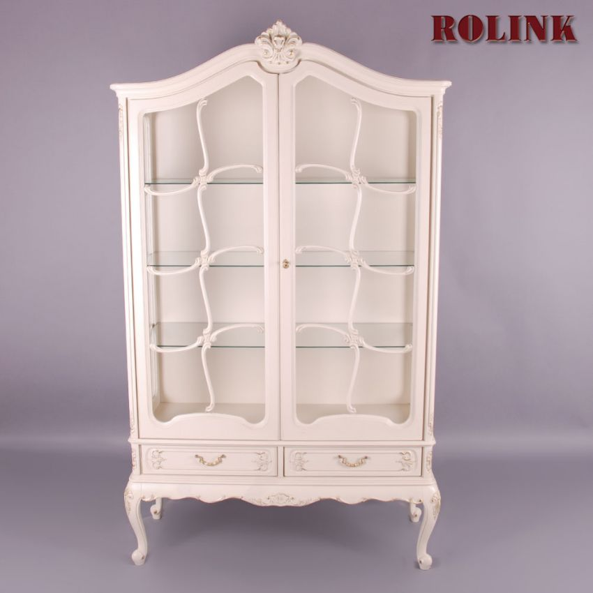 warrings chippendale vitrine schleiflack antik weiss shabby chic barock rokoko ebay. Black Bedroom Furniture Sets. Home Design Ideas