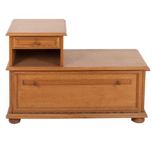 telefonbank in eiche rustikal 70er o 80er jahre ebay. Black Bedroom Furniture Sets. Home Design Ideas