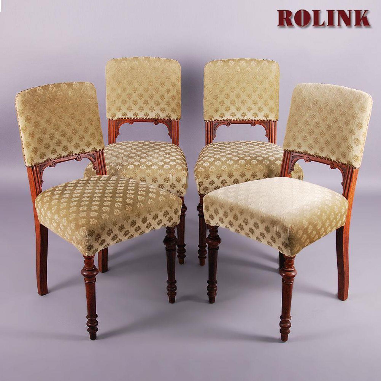antik sett 4 st hle jugenstil gr nderzeit historismus eiche gebraucht alt ebay. Black Bedroom Furniture Sets. Home Design Ideas