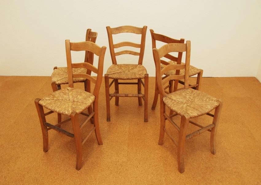 stuhlset 5 st hle mit binsengeflecht um 1900 ebay. Black Bedroom Furniture Sets. Home Design Ideas