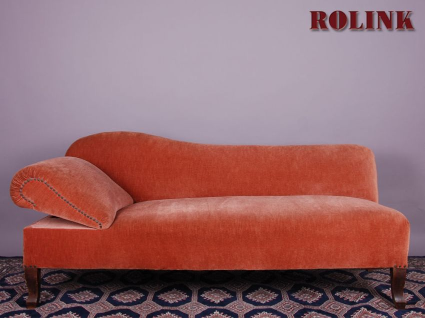 ottomane wohnzimmer sofa liegesofa couch recamiere links in rot ebay. Black Bedroom Furniture Sets. Home Design Ideas