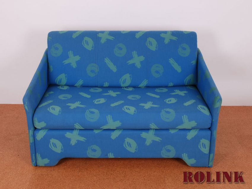 jugendzimmer wohnzimmer sofa couch schlafsofa 2 sitzer in blau mit bettkasten ebay. Black Bedroom Furniture Sets. Home Design Ideas