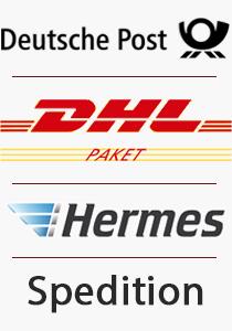 Unser Versandarten, Post, DHL, Hermes und per Spedition