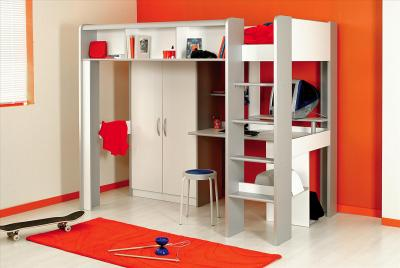 hochbett kinderbett space in wei mit schrank und. Black Bedroom Furniture Sets. Home Design Ideas