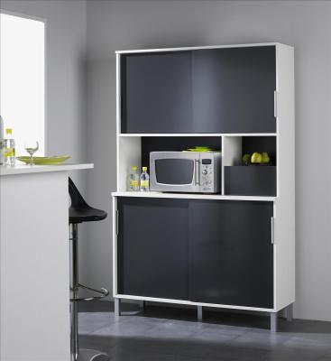 buffetschrank k chenbuffet k chenschrank slide weiss grau melamin 120x186x42cm ebay. Black Bedroom Furniture Sets. Home Design Ideas