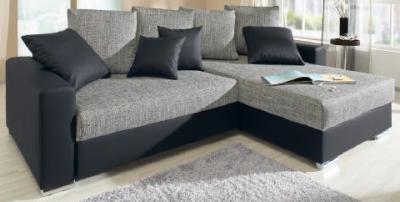 polsterecke eck couch sofa lederlook strukturstoff m federkern polsterung leon ebay. Black Bedroom Furniture Sets. Home Design Ideas