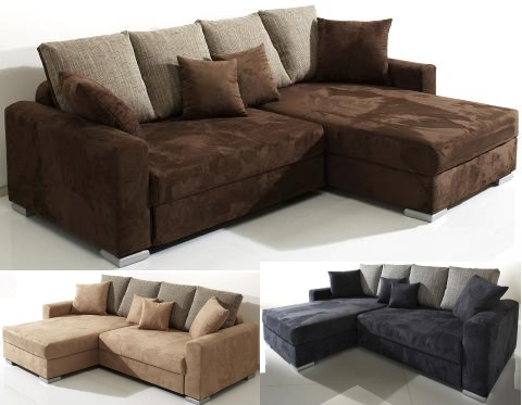 polsterecke eck couch sofa microfaser mit federkern posterung lerida ebay. Black Bedroom Furniture Sets. Home Design Ideas