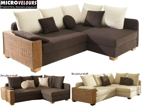rattan polsterecke eck couch sofa mit federkern polsterung padova ebay. Black Bedroom Furniture Sets. Home Design Ideas