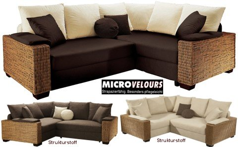 Rattan ecksofa  Rattan-Polsterecke Eck-Couch/Sofa mit Federkern-Polsterung #Kenia ...