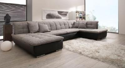 wohnlandschaft eck couch sofa inkl 4 kissen 178x382x202cm faro ebay. Black Bedroom Furniture Sets. Home Design Ideas